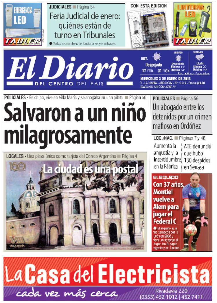 Portada de El Diario del centro del país (Argentina)