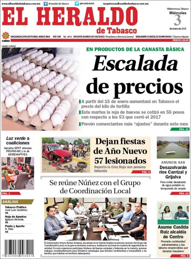 Portada de El Heraldo de Tabasco (México)