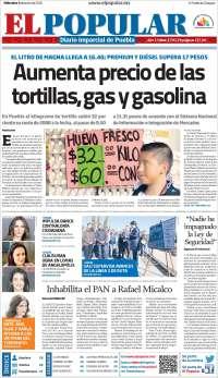Portada de Periódico El Popular (México)