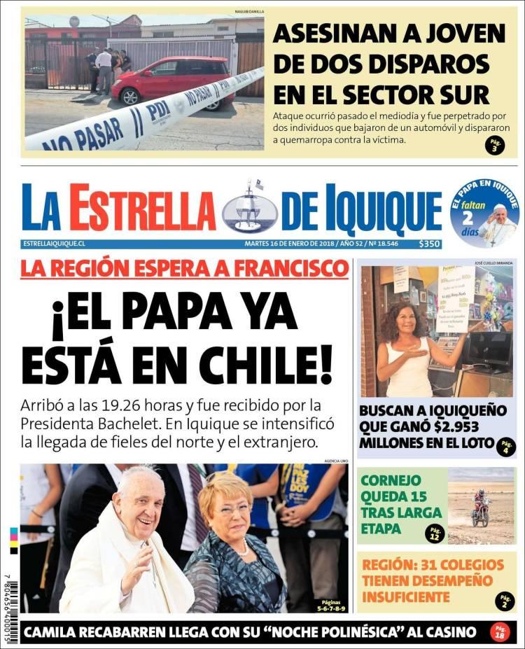 Portada de La Estrella de Iquique (Chili)