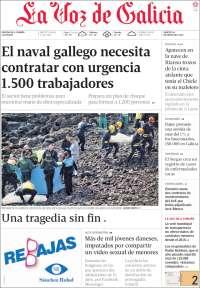 Portada de La Voz de Galicia (Espagne)