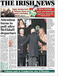 Portada de The Irish News (Irlande)
