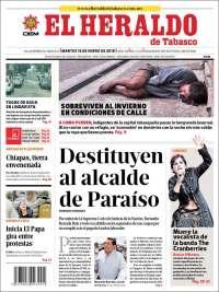 Portada de El Heraldo de Tabasco (Mexique)