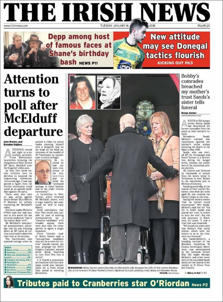 Portada de Irish News (Royaume-Uni)