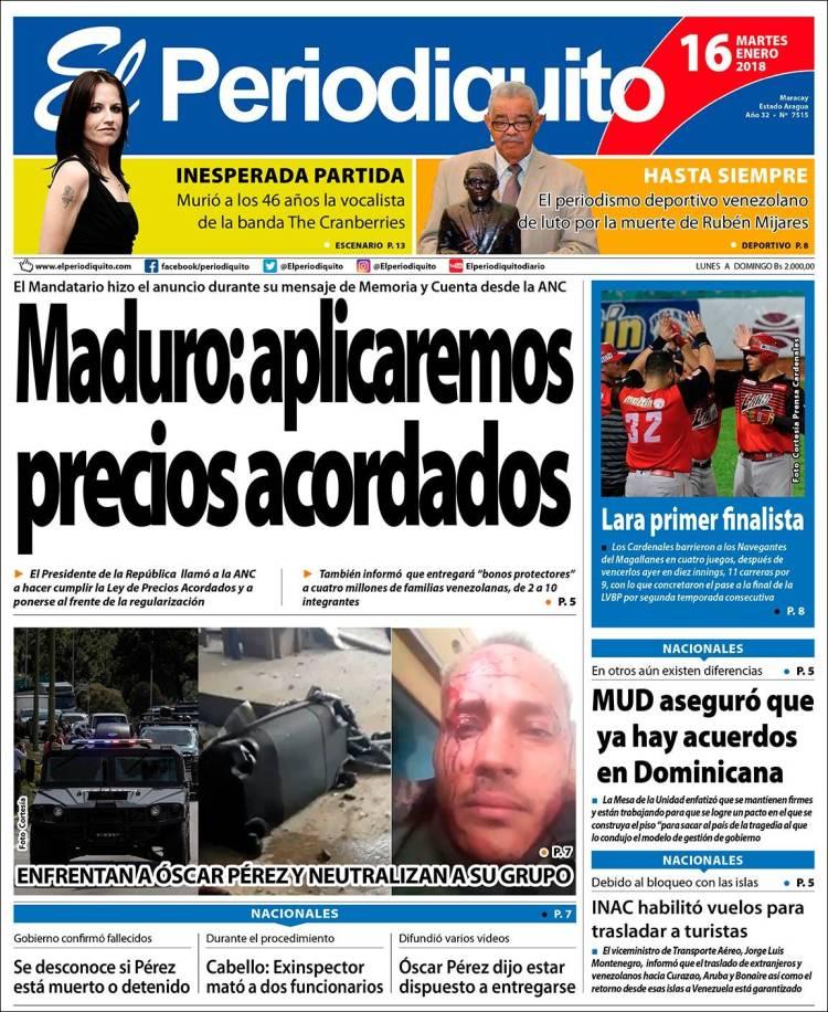 Portada de Periodiquito de Aragua (Venezuela)