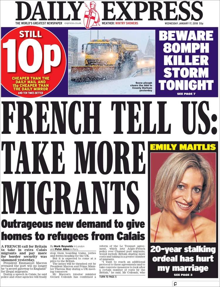 Portada de Daily Express (Royaume-Uni)