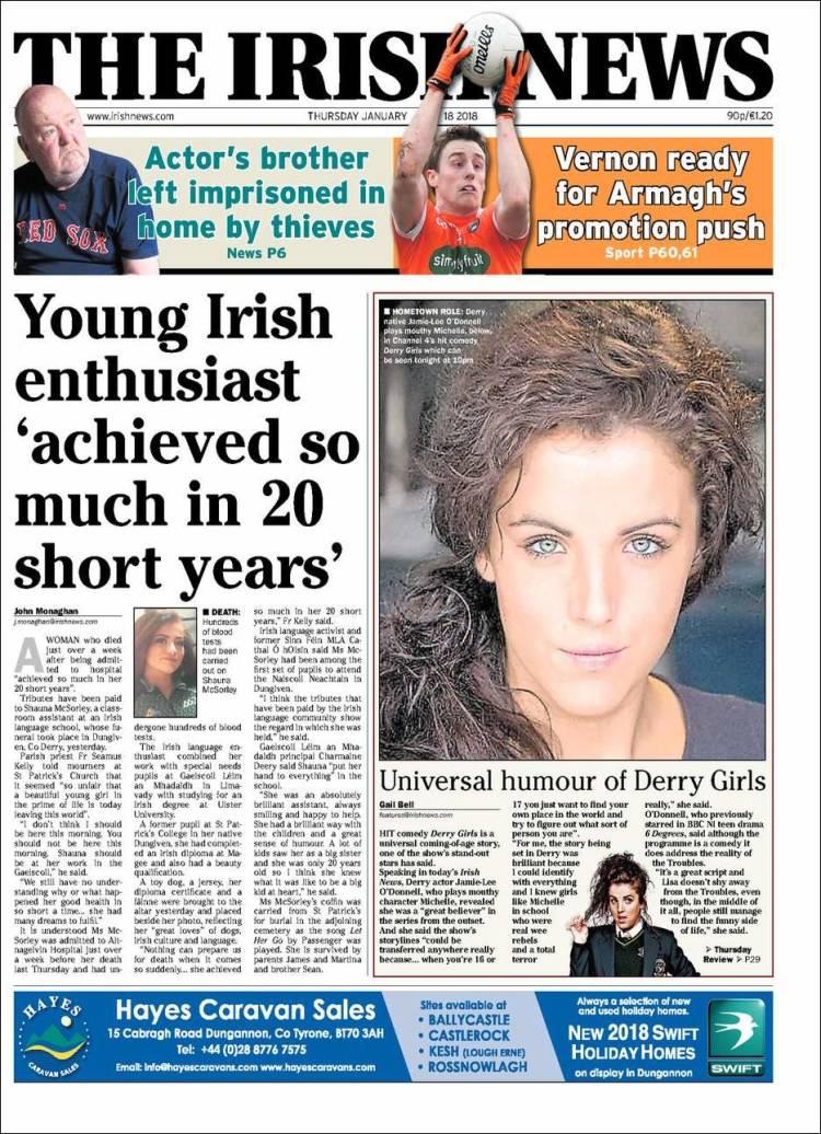 Portada de Irish News (United Kingdom)