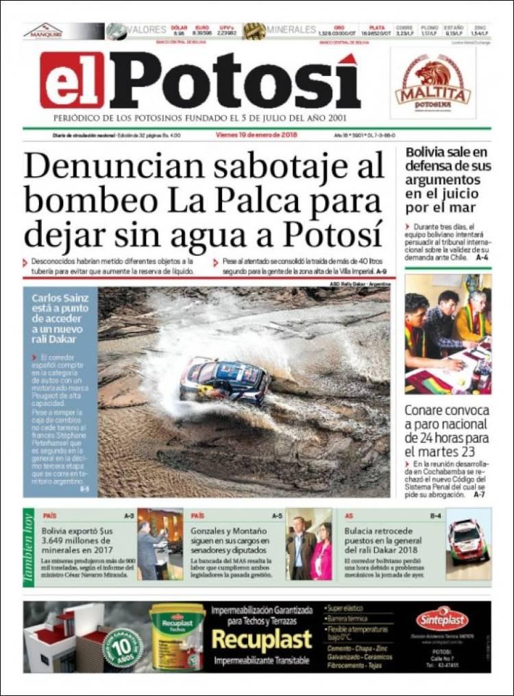 Portada de Diario de Potosí (Bolivie)