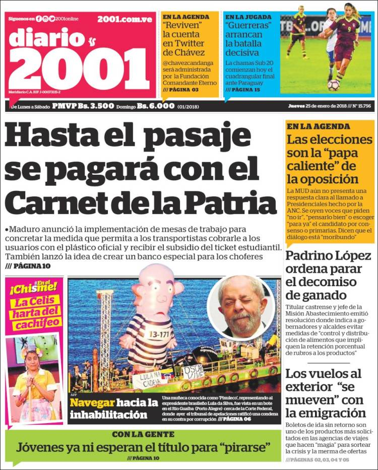 Newspaper 2001 Dosmiluno Venezuela Newspapers In Venezuela