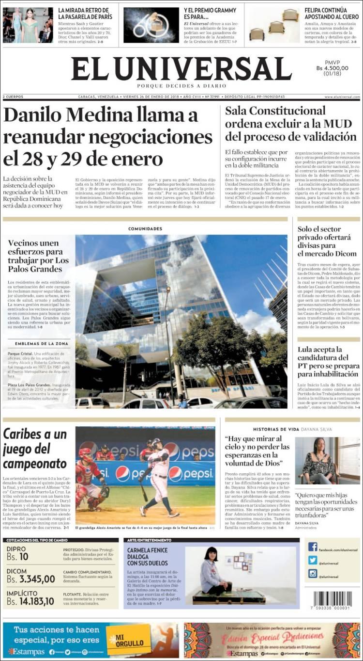 Periódico Universal (Venezuela). Periódicos de Venezuela. Edición de ...