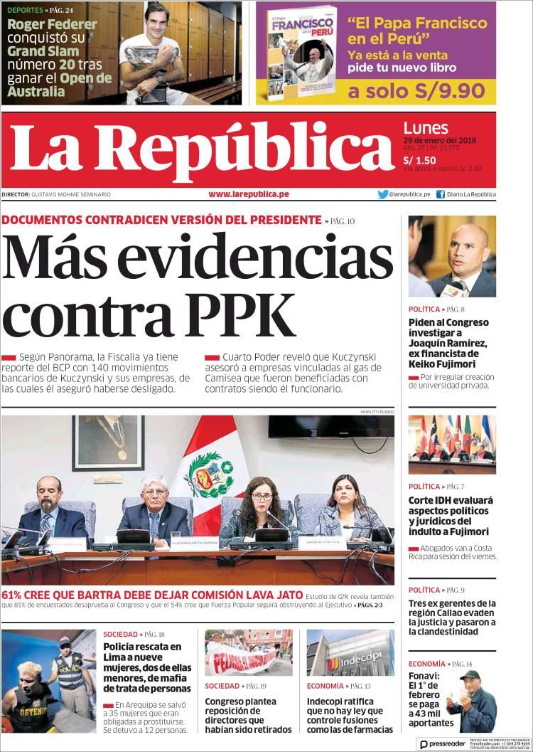 Newspaper La Republica Peru Newspapers In Peru Mondays Edition