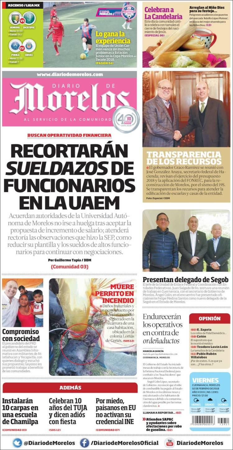 Periódico Diario de Morelos (México). Periódicos de México. Edición ...