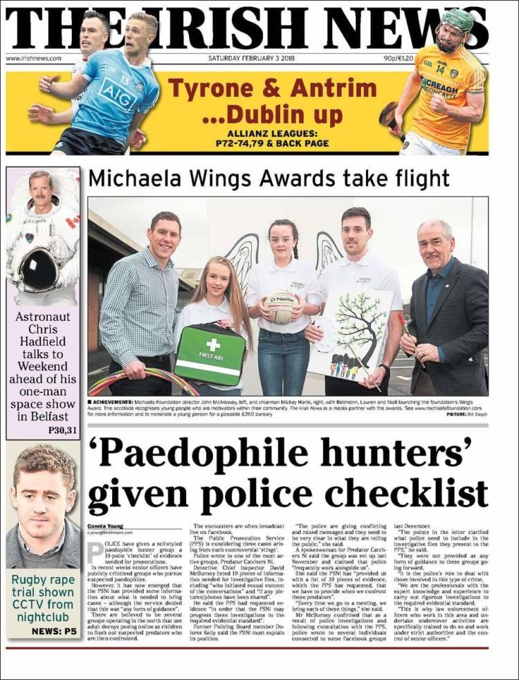 Portada de The Irish News (Irlanda)