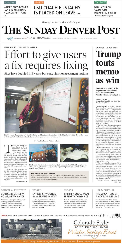 Newspaper The Denver Post Usa Newspapers In Sundays Edition Del City Press Release Portada De