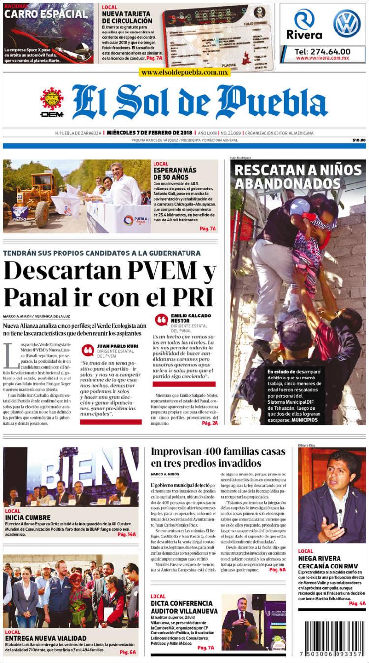Portada de El Sol de Puebla (Mexique)