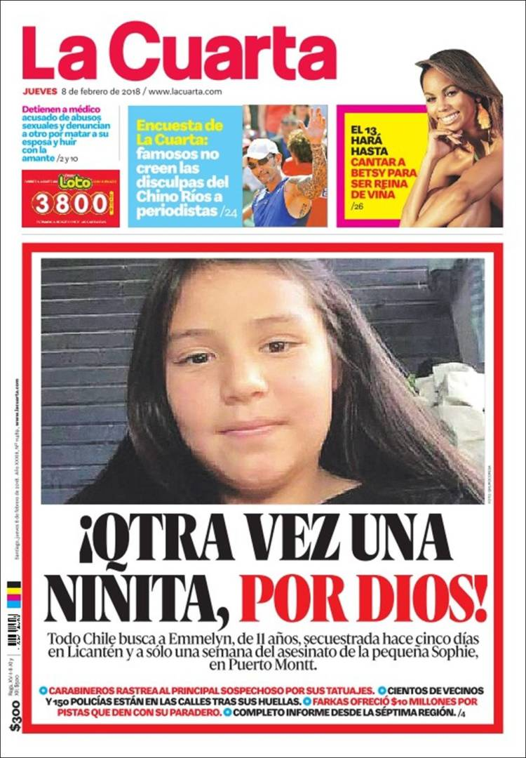 Periódico La Cuarta (Chile). Periódicos de Chile. Edición de viernes ...