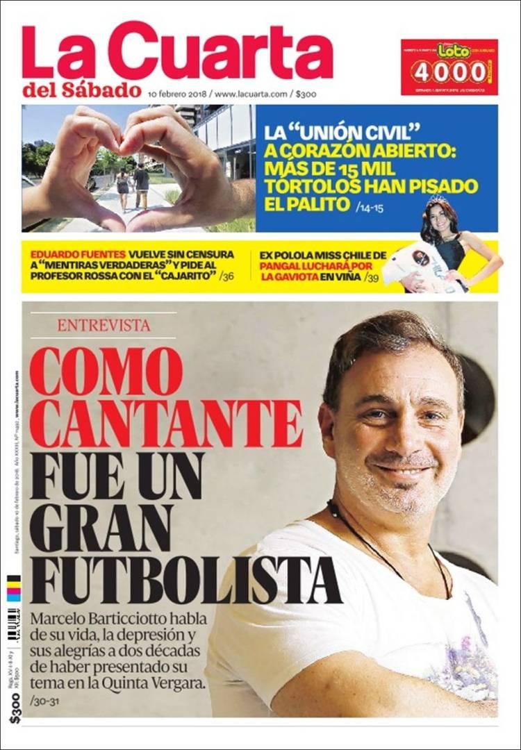 Periódico La Cuarta (Chile). Periódicos de Chile. Edición de domingo ...