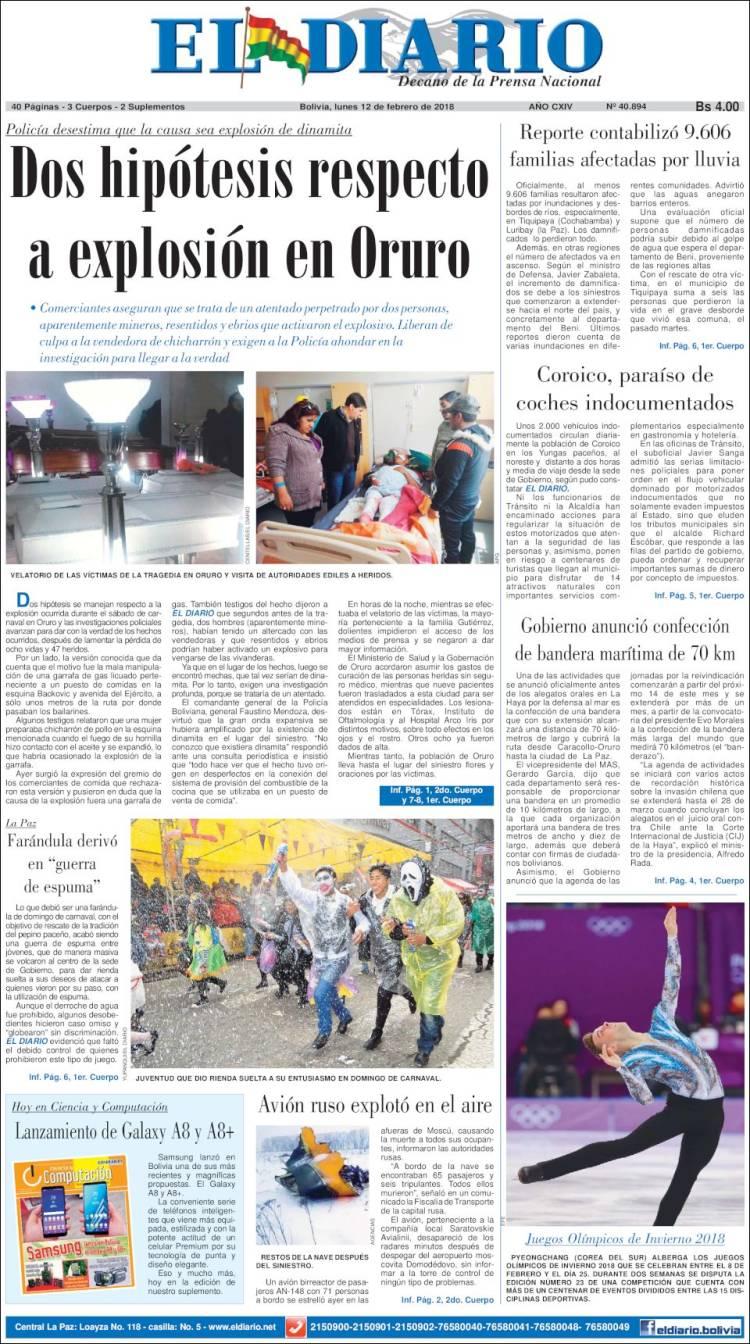 Peri dico noticias el diario bolivia peri dicos de for Ultimas noticias de la farandula argentina