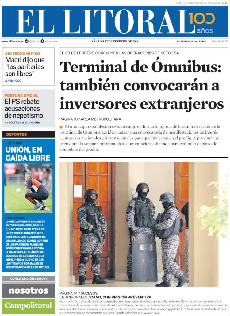Portada de Diario El Litoral (Argentine)