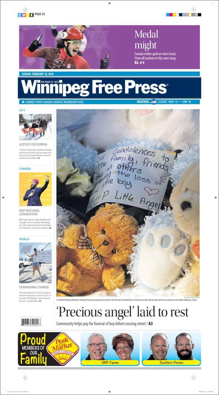 Newspaper Winnipeg Free Press Canada Newspapers In Del City Release Portada De