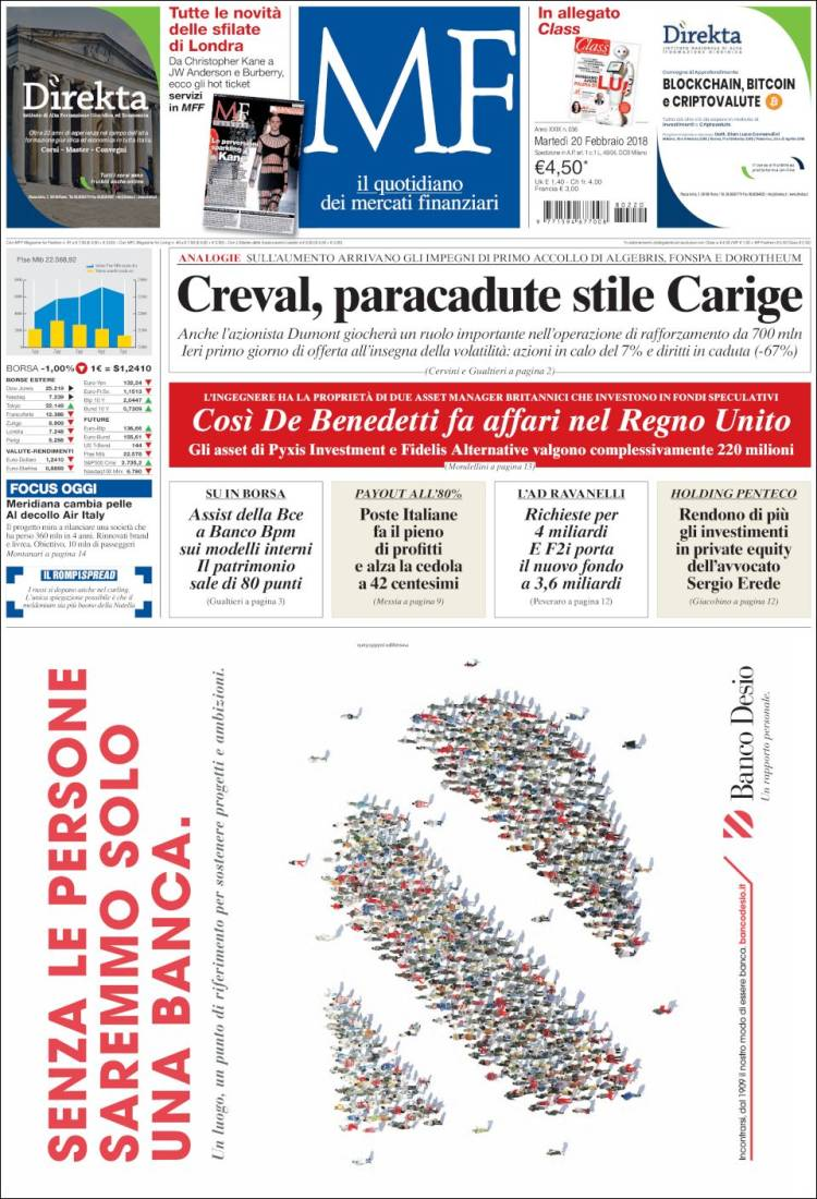 3b45814297 Newspaper Milano Finanza (Italy). Newspapers in Italy. Tuesday's ...