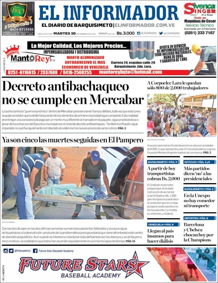 Portada de El Informador (Venezuela)