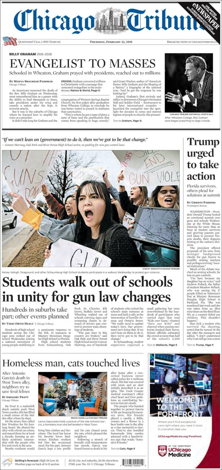 Portada de Chicago Tribune (USA)