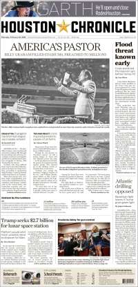 Portada de Houston Chronicle (USA)
