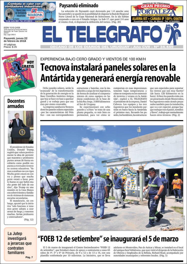 Periódico El Telégrafo (Uruguay). Periódicos de Uruguay. Edición de ...