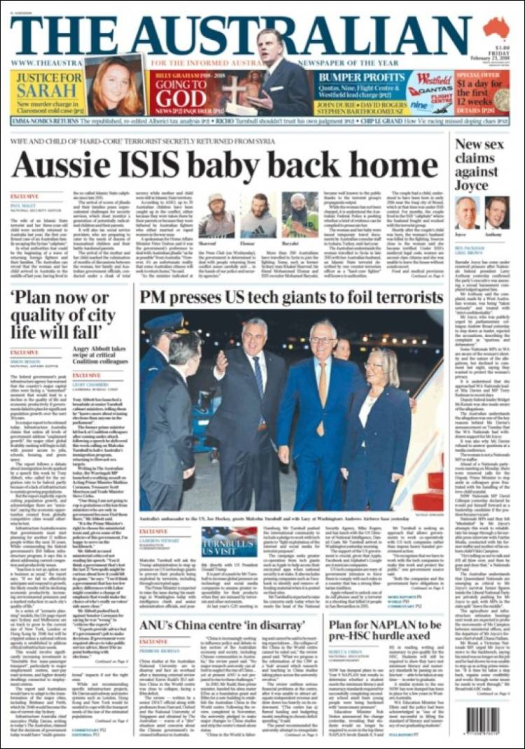 Portada de The Australian (Australie)