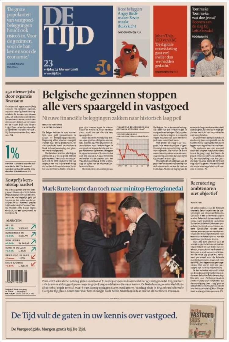 Portada de De Tijd (Belgique)