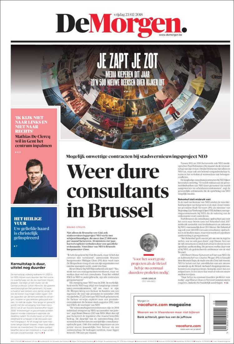 Portada de De Morgen (Belgique)