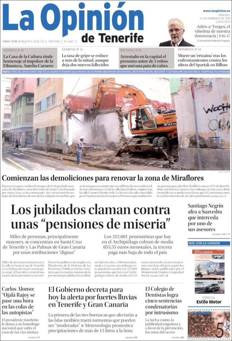Portada de La Opinión de Tenerife (Espagne)