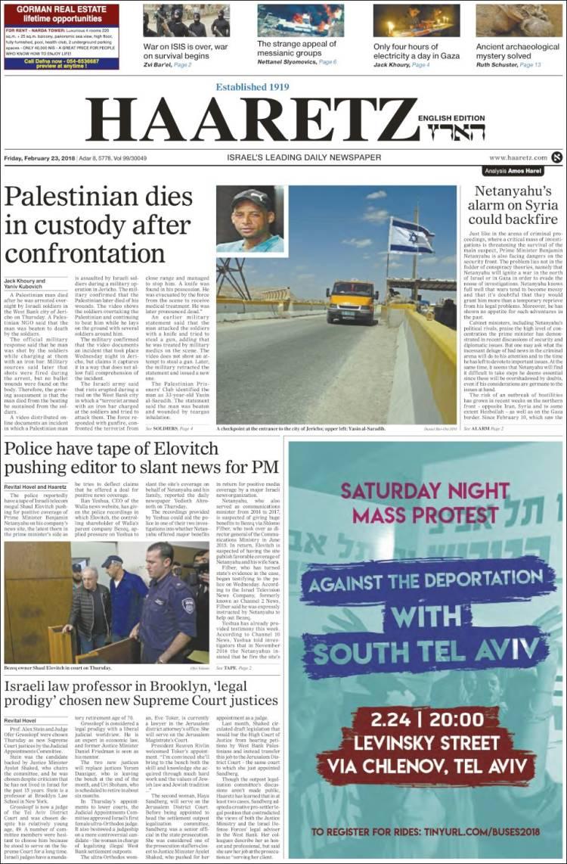 Portada de Haaretz (Israël)