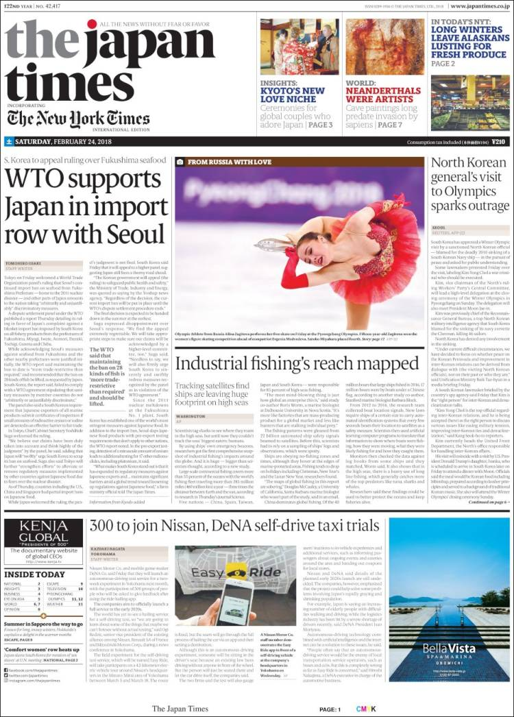 Portada de The Japan Times (Japón)