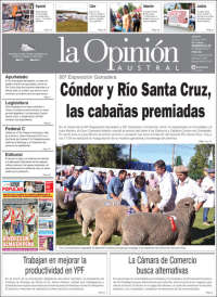 Portada de La Opinión Austral (Argentina)