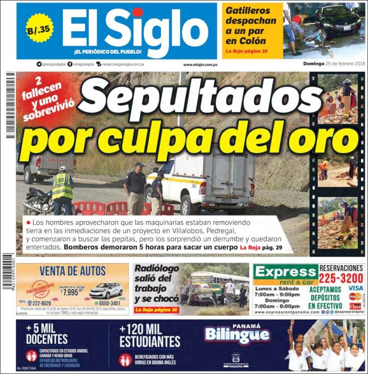 Portada de El Siglo (Panama)