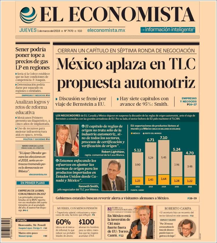 Portada de El Economista (México)