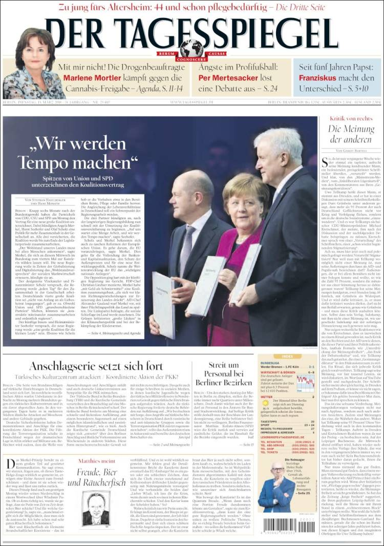 Cover of Der Tagesspiegel (Germany)