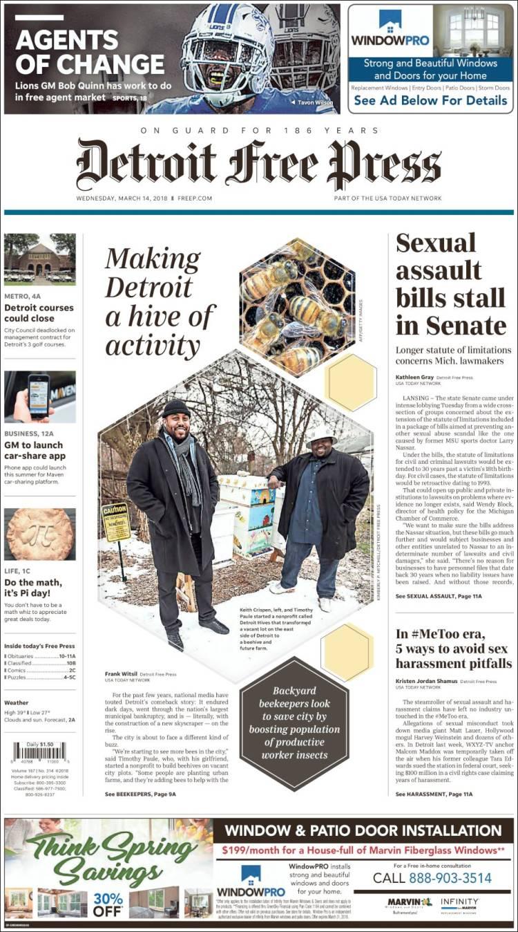 Newspaper Detroit Free Press Usa Newspapers In Wednesdays Del City Release Portada De