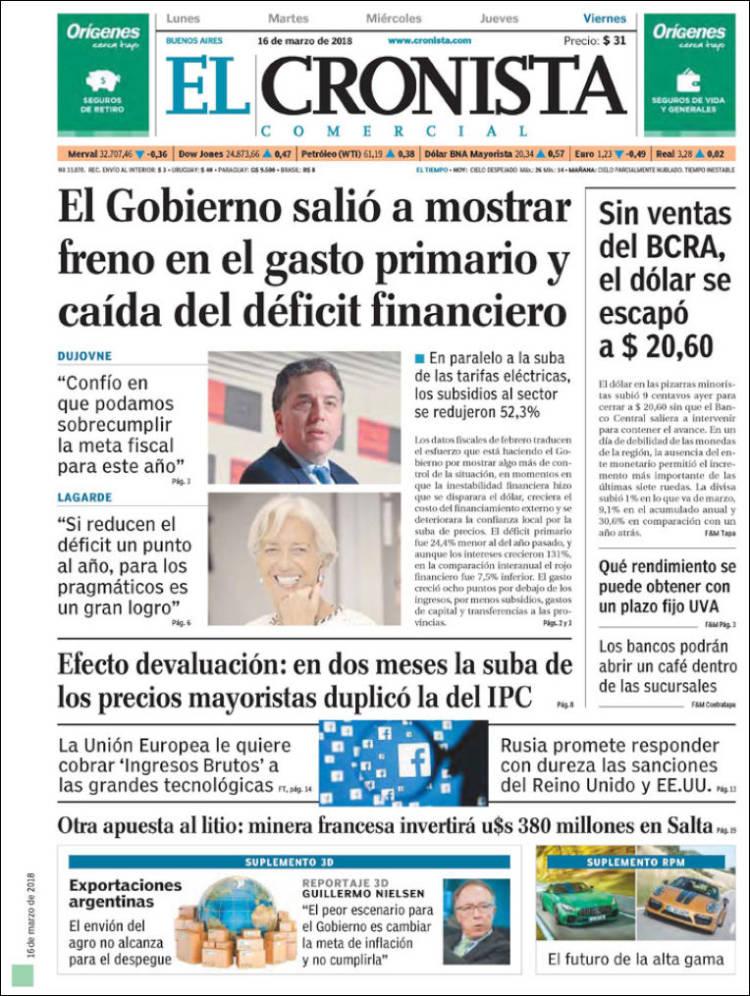 Portada de El Cronista Comercial (Argentine)