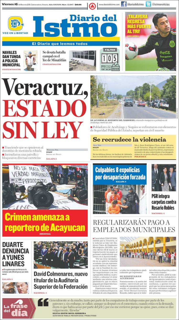 Portada de Diario del Istmo - Voz en Libertad (Mexique)