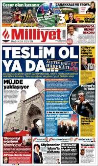Portada de Milliyet (Turquie)
