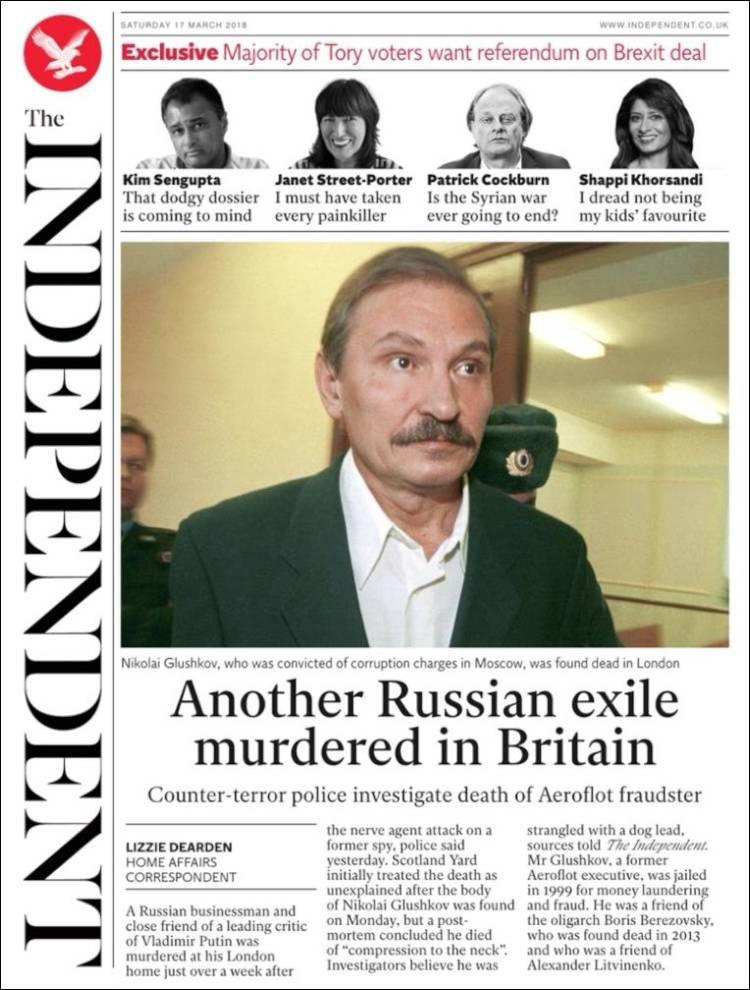 Portada de The Independent (Royaume-Uni)