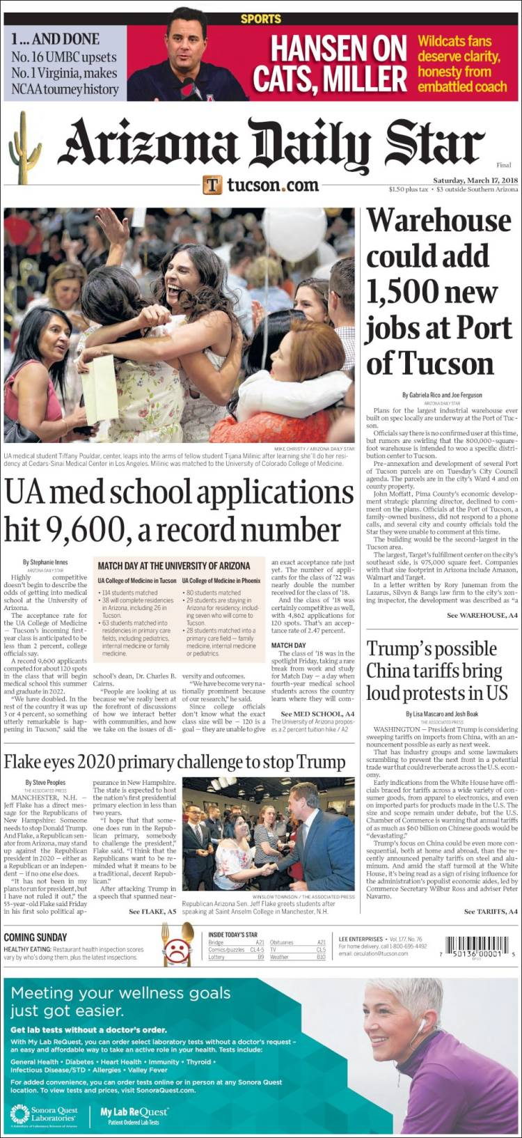 Portada de Arizona Daily Star (États-Unis)
