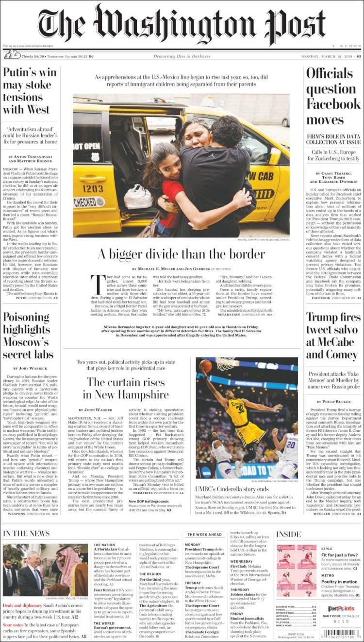 cd755f24634 Newspaper The Washington Post (USA). Newspapers in USA. Monday s ...