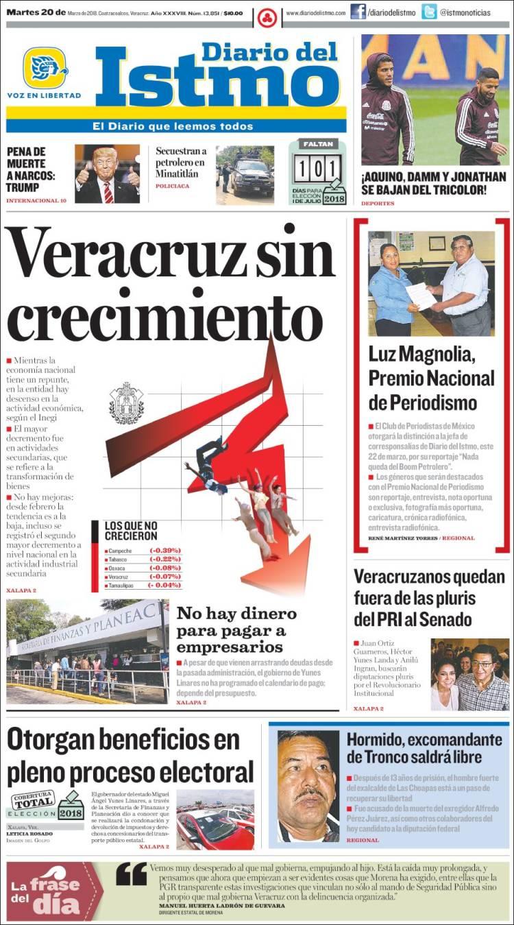 Portada de Diario del Istmo - Voz en Libertad (Mexico)