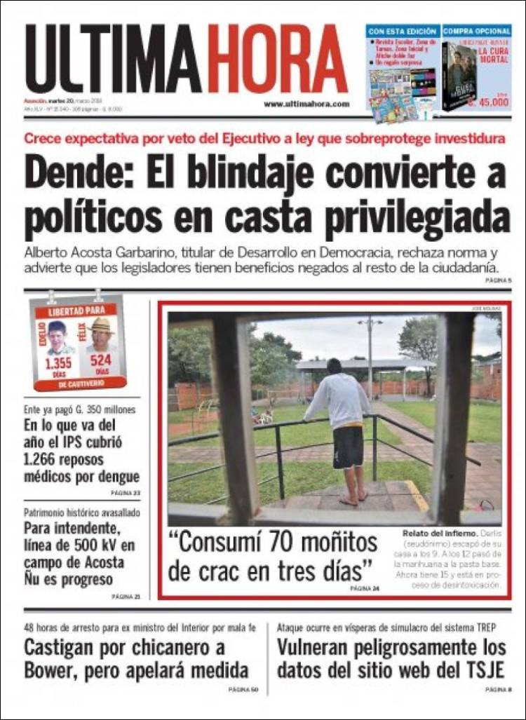Portada de Última Hora (Paraguay)