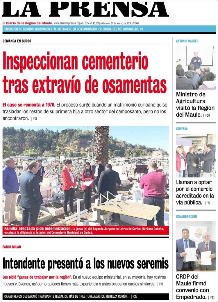 Portada de La Prensa (Chile)