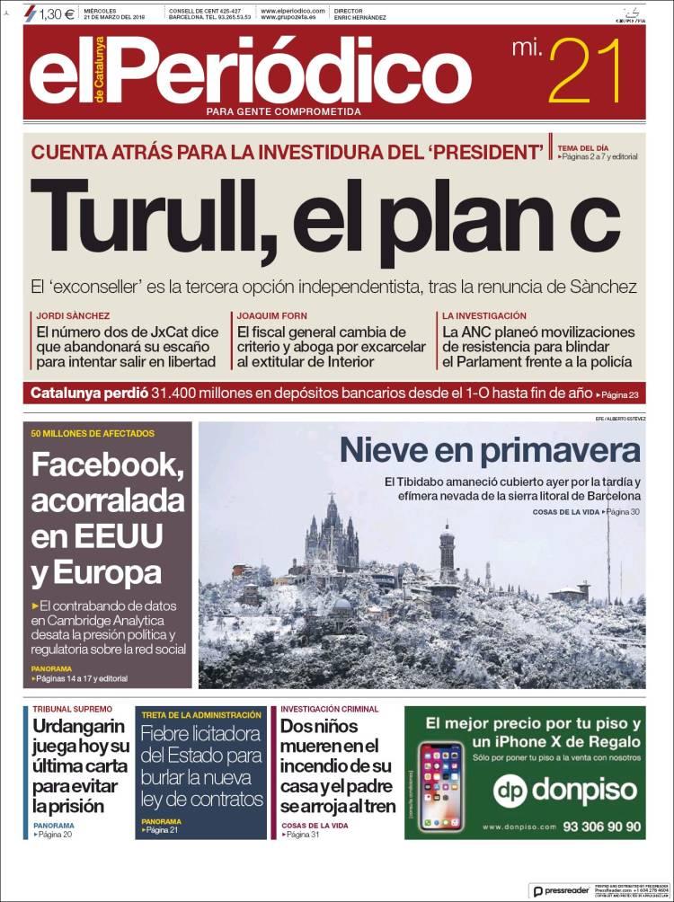 Portada de El Periódico (Spain)